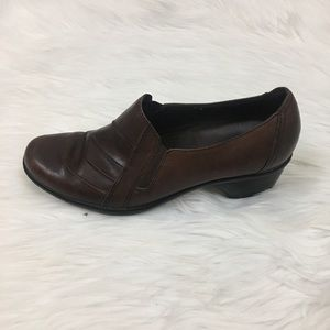 Clarks brown leather slip on shoes